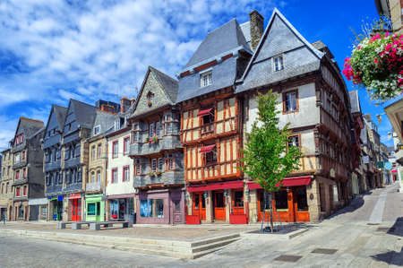 Colorful medieval houses in the historical city center of Lannion, Brittany, France 版權商用圖片