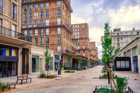 wold: Modern houses in the city center of Le Havre, the french town rebuild after being totally destroyed in the Wold War II, Normandy, France Editorial