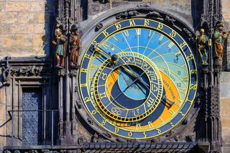 astrological: The Horologe (Orloj), the medieval astronomic clock, on the Old Town Hall Tower in Prague, Czech Republic Editorial