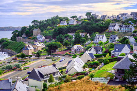 english channel: Cottages in Perros-Guirec, a popular tourist destination on English Channel, Brittany, France