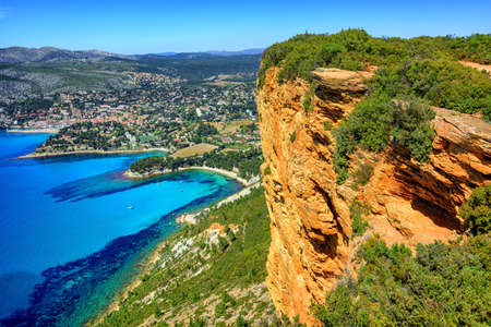 View of Cassis town, Cap Canaille rock and Mediterranean Sea from Route des Cretes mountain road, Provence, France Stock Photo