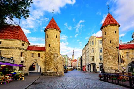 Twin towers of Viru Gate in the old town of Tallinn, Estonia