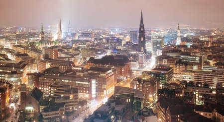 The old city center of Hamburg, Germany, at night