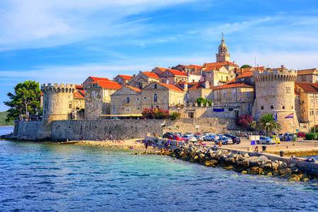 Korcula, a historic fortified town on the island in Adriatic sea, Croatia