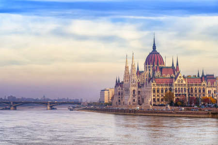 neo gothic: The neo gothic hungarian Parliament building on Danube river, Budapest, Hungary, in the early morning light