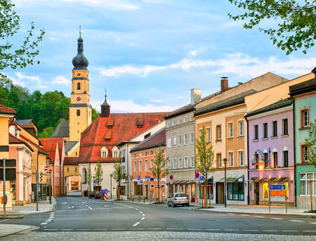 old town house: Old gothic house and church in the center of a german town, Dingolfing, Bavaria, Germany