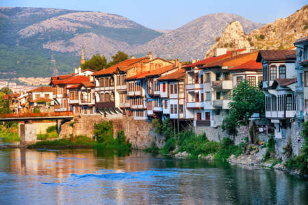 Old town of Amasya, famous for its historical ottoman houses, Central Anatolia, Turkey Stock Photo