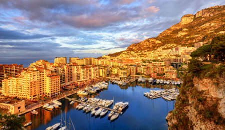 azure: View of the Port Fontvieille in the city center of Monaco, France, on sunrise in early morning light