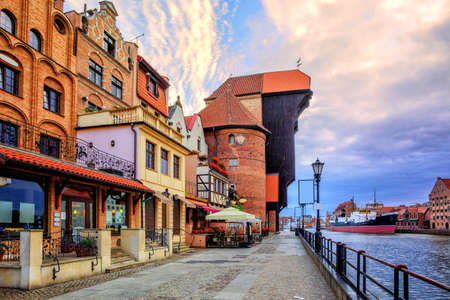 gdansk: Riverside promenade in the old town of Gdansk with prominent Zuraw Crane, Baltic Sea, Poland