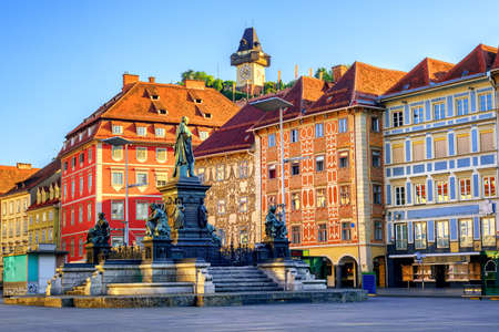 unesco world cultural heritage: Painted facades and the Clocktower in the old town of Graz, Austria are on UNESCO World Cultural Heritage list