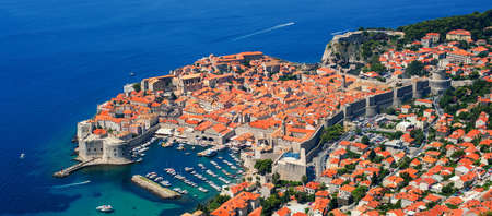 unesco culture heritage: Panoramic view of the historical old town of Dubrovnik, Croatia, on a peninsula in Adriatic Sea is on UNESCO World Culture Heritage List.