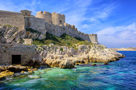 monte cristo: Chateau dIf castle on an island in Marseilles, France, famous through Dumas novel The Count of Monte Cristo