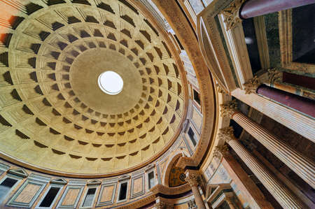 light circular: The interior view of the Dome of Pantheon, ancient roman temple later used as a christian church, Rome, Italy Editorial