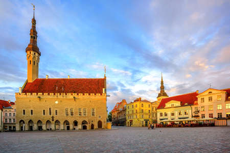 The Town Hall Square in the middle of the old town of Tallinn, Estonia, in early morning light Stock Photo