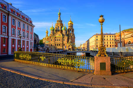 saint petersburg: The Church of the Savior on Spilled Blood on Griboyedov canal in the early morning light, St. Petersburg, Russia.
