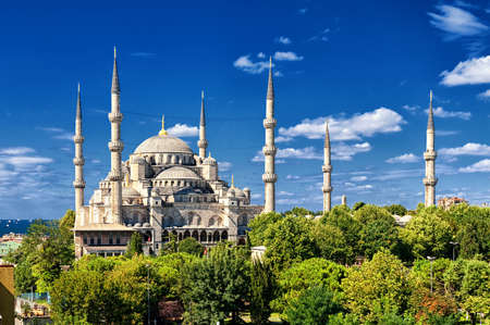 minarets: Minarets and domes of the Blue Mosque, Sultanahmet, Istanbul, Turkey