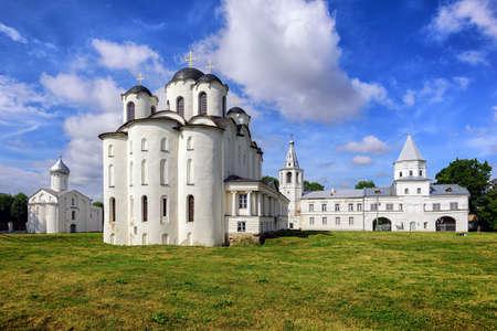 novgorod: Saint Nicholas Cathedral and old russian orthodox churches on Trade Mart, Velikiy Novgorod, Russia