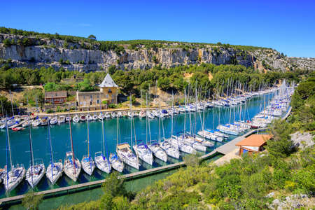 coastlines: White yachts in Calanque de Port Miou, one of biggest fjords between Marseille and Cassis, France Stock Photo