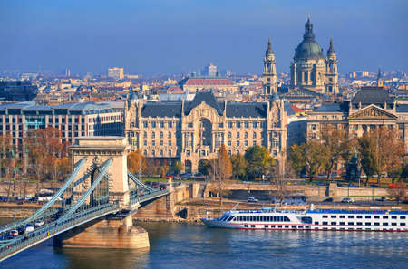 basilica: Budapest city center with Chain bridge over Danube river, Gresham Hotel and St Stephens Basilica, Hungary Stock Photo
