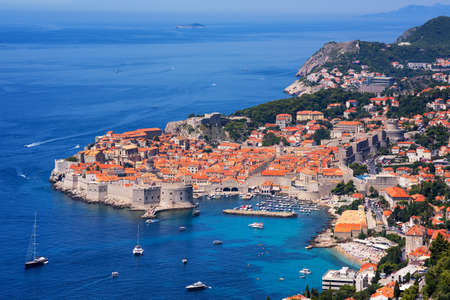 unesco culture heritage: The historical old town of Dubrovnik, Croatia, on a peninsula in Adriatic Sea is on UNESCO World Culture Heritage List. Stock Photo