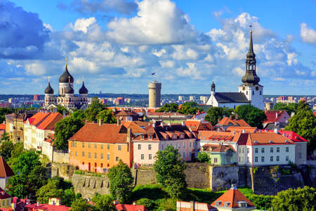 nevsky: View of the medieval old town of Tallinn on Toompea Hill, with Alexander Nevsky Orthodox Cathedral and Dome Church, Estonia Stock Photo
