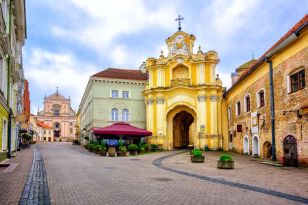 Pedestrian street in the old town of Vilnius, capital of Lithuania in Eastern Europe