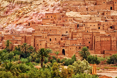 unesco culture heritage: Ait Benhaddou is a clay fortified city, ksar, along the caravan route between Sahara and Marrakech, Morocco. Its a popular film location and UNESCO World Culture Heritage Site.