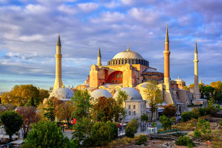 Hagia Sophia domes and minarets in the old town of Istanbul, Turkey, on sunset Editorial