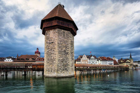 water town: Water Tower and Chapel Bridge in the old town of Lucerne, Switzerland