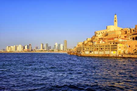 yaffo: Old Jaffa town and modern skyline of Tel Aviv city, Israel