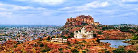 mogul: Panorama view of the blue city of Jodhpur, Rajasthan, India, with Mehrangharh Fort and Jaswant Thada mausoleum Editorial