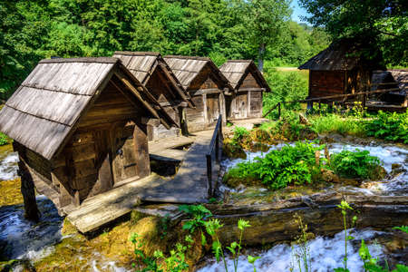 watermills: Historical wooden watermills in Jajce, Bosnia and Herzegovina