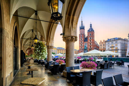 St Marys Basilica and Main Market Square in Krakow, Poland, on sunrise