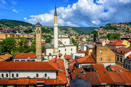 Old Town of Sarajevo with Gazi Husrev-beg Mosque and red tiled roofs of main bazaar, Bosnia and Herzegovina