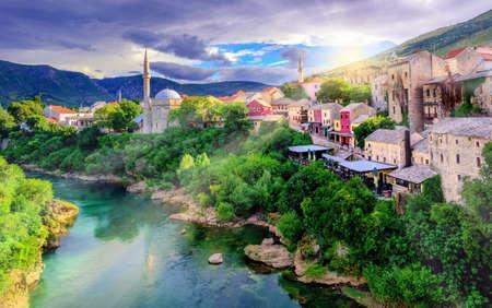 Sunrise over Mostar Old Town and Neretva river, Bosnia and Herzegovina