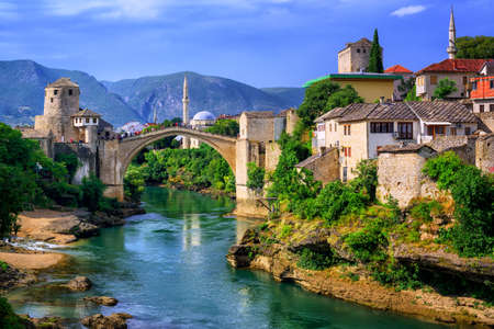 Old town of Mostar, Bosnia and Herzegovina, with Stari Most bridge, Neretva river and old mosques Stock Photo