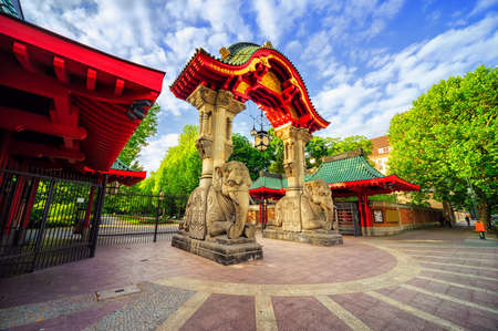 Stone elephants and the arch on the entrance to the Berlin Zoological Garden, Germany, the biggest zoo in the world by amount of species
