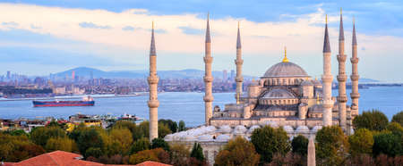 Panoramic view of the Blue Mosque, Bosporus and Kadikoy skyline on sunset, Istanbul, Turkey