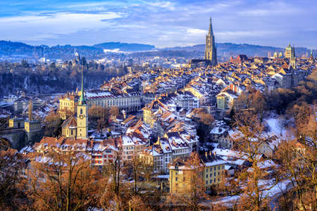 Old Town of Bern, capital of Switzerland, covered with white snow in winter 版權商用圖片