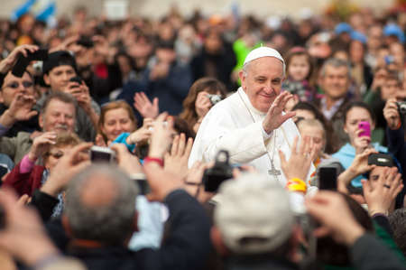 Rome, Italy - April 04: His Holiness Pope Francis I greets gathered prayers in Rome, Italy, on April 04, 2013