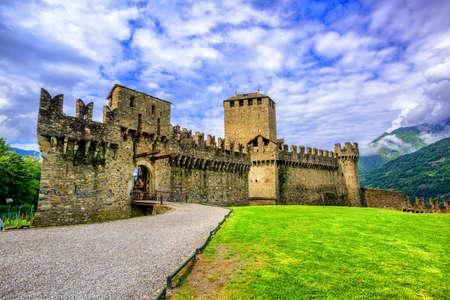 Medieval stone castel Castello di Montebello in swiss Alps mountains, Bellinzona, Switzerland Archivio Fotografico