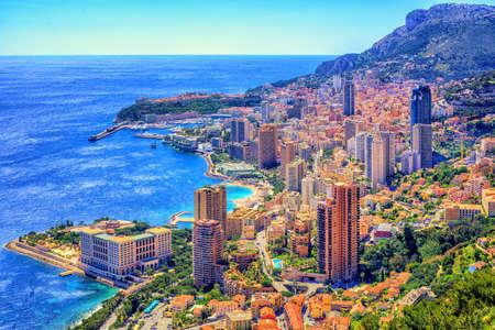 Skyline of Monaco and Monte Carlo, Cote d'Azur, Europe Foto de archivo
