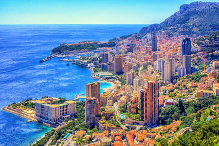 Skyline of Monaco and Monte Carlo, Cote d'Azur, Europe 免版税图像