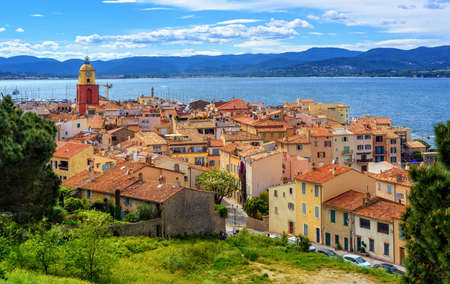 Colorful historical Old Town of St Tropez, a popular resort on Mediterranean sea, Provence, France Stok Fotoğraf