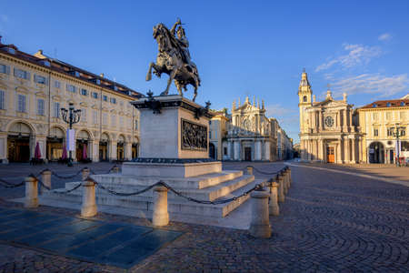 Piazza San Carlo and the bronze monument of Emmanuel Philibert, Duke of Savoy, on a horse, in the city center of Turin, Italy