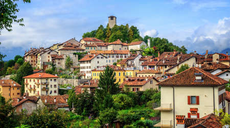 Feltre historical Old Town sits on a hill top in Dolomites Alps, Belluno province, Veneto, Italy 스톡 콘텐츠