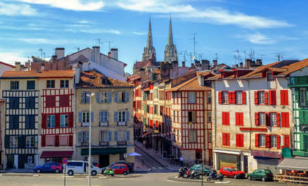 Colorful houses in the Old Town center of Bayonne, french Basque Country, France