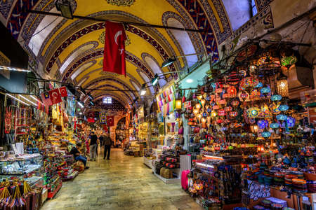 Istanbul, Turkey - October 06: The Istanbul Grand Bazaar is the most famous oriental covered market in the world.  Istanbul, Turkey, on October 06, 2016