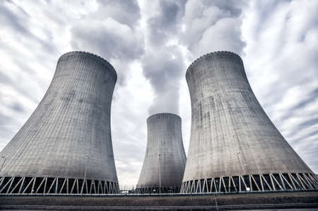 White smoke coming from the cooling towers of the nuclear power plant in Temelin, Czech Republic, Europe Archivio Fotografico