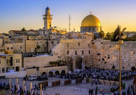 Jerusalem, Israel - October 14: Jewish prayers at the Western Wall on Rosh Hashanah and Yom Kippur celebration, in the Old Town of Jerusalem, Israel, on October 14, 2016